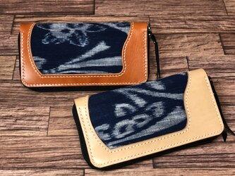 0006 本革(コゲ茶)+古布 長財布 の画像