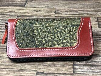 0007 本革(赤)+古布(着物) 長財布 の画像