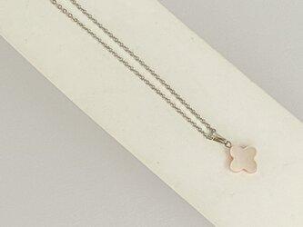 【ネックレス】クロスカット白蝶貝1シンプル・ピンク・銀の画像
