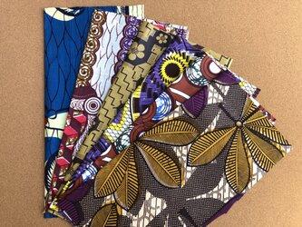 e124-アフリカ布端切れ6枚セットの画像