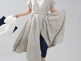 【wafu】やや薄地 リネン 2weyドレス ワンピース 禅 和装 カシュクール 40番手/亜麻ナチュラル a030e-amn1の画像
