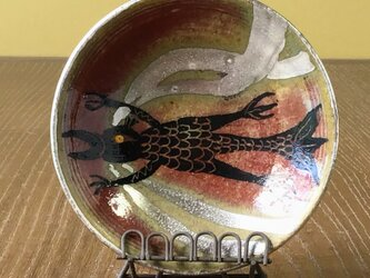 コロナ撃退 アマビエ 小皿 辰砂 銀彩  スタンド付きですの画像