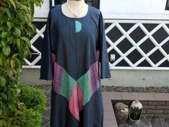 着物リメイク ハンドメイド 大島紬に、織りの布 ワンピースの画像