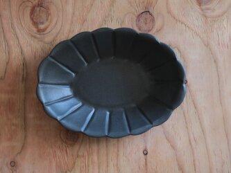 オーバル菊鉢 黒の画像