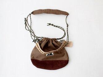 KURI BAG |KHAKI×SUEDELEATHER c/#KHAKI 2WAY巾着バッグの画像