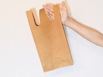 豚革 ブラウン コンビニエンスバッグ Sサイズ トートバッグの画像