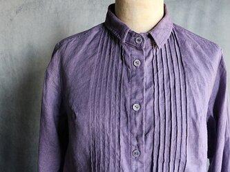 草木染ピンタック袖レースブラウス:紫#2010の画像
