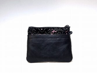 角財布(ブラック×プリントカンガルー)【一点物】の画像