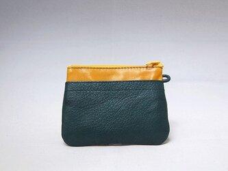 角財布(エメラルド×キャメル)【一点物】の画像