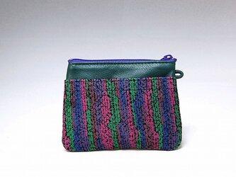 角財布(エメラルド×発泡プリント)【一点物】の画像