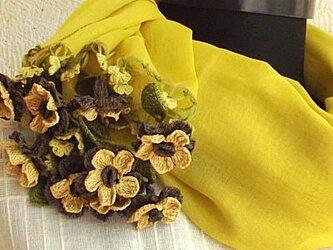 立体刺繍の花付き コットンストール マスタードの画像