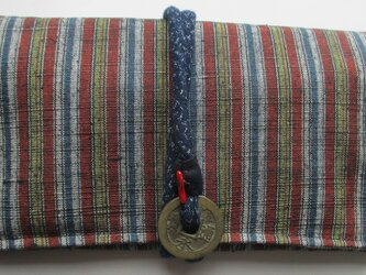 4844 唐桟縞の着物で作った和風財布・ポーチ #送料無料の画像