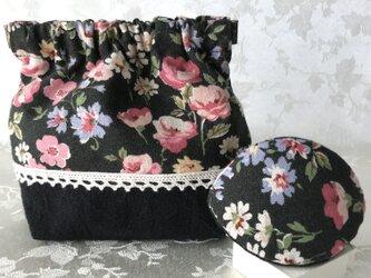バネポーチと小物入れのセット 花柄 ブラックの画像