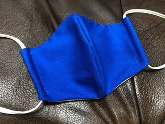 洗える立体マスク 耳紐調整自由自在 コットン100% 立体マスク 洗えるマスク L ブルーの画像