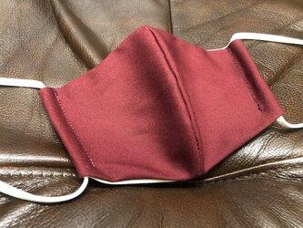 洗える立体マスク 耳紐調整自由自在 コットン100% 立体マスク 洗えるマスク L ボルドーの画像
