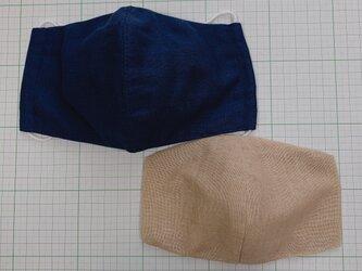 セット 表裏ガーゼマスクとインナーマスク 大きめサイズ  布マスク 立体マスク 紺真ん中縫い合わせの画像