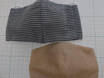 セット 表裏ガーゼマスクとインナーマスク 大きめサイズ  布マスク 立体マスク ストライプ真ん中縫い合わせの画像