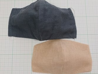 セット 表裏ガーゼマスクとインナーマスク 大きめサイズ  布マスク 立体マスク グレー真ん中縫い合わせの画像