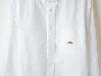 ボタンダウンシャツ【ホワイト】;クロワッサン刺繍付きの画像