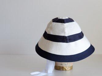 セーラーハット ボーダー リネン 【 白 に 紺 】 マリン / sailor hat linen <受注制作>の画像