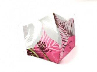 ハワイアン ファブリック ファッション・3Dマスク(扇型) ハイビスカス ピンク/グレー Lサイズ[mfm3Q-211L]の画像