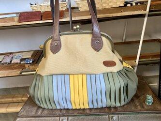『受注製作』倉敷帆布&本革バルーンバッグ24  カワラヒワの画像