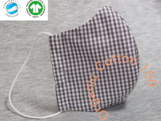 オーガニックコットン100の立体マスク(ブラウンチェック)の画像