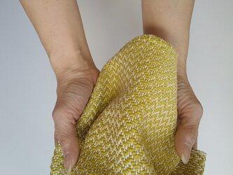 手織りハンカチ 汗をしっかり吸収してくれるコットンハンカチ グラスグリーンの画像
