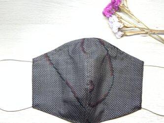 送料無料 ワイヤー入り 大島紬とダブルガーゼのリバーシブルマスク Hの画像