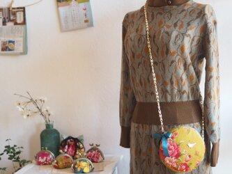 ♥台湾花布♥ 鞄モチーフ宝石輝くガマ口100%手縫ポーチ【受注製作】 の画像