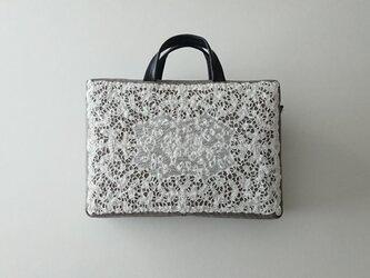 antique france lace 2way bag (glen check)の画像