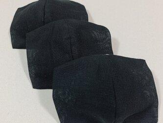 3枚インナーマスク  薄くて軽く息がしやすい 布マスク   立体マスク シングルガーゼ2重仕立て 黒の画像