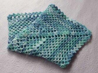 レース編みの飾りハンカチーフ・海 (展示品)の画像