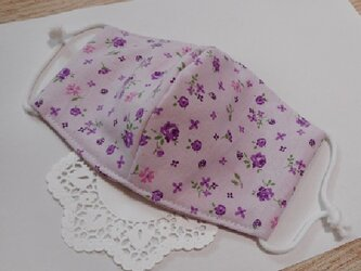 4重ガーゼ&綿☆4層立体マスク(Pラベンダー×紫ローズ)コットン100% 薔薇 小花 ブーケ 苺の画像