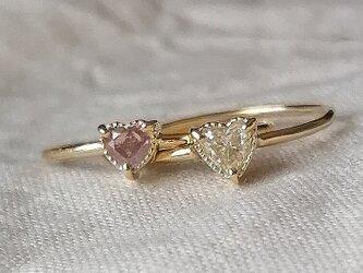 ハートシェイプダイヤモンド2連リングチェリーブロッサムの画像