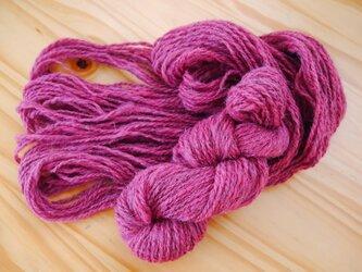 手紡ぎ糸<イングリッシュカラード × コチニール染め>の画像