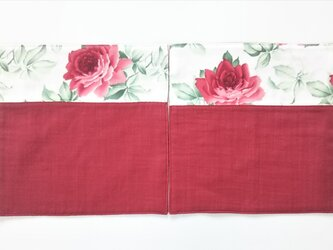 ガーゼのハンカチ 薔薇 レトロ  赤×赤  約23cm角  2枚組の画像