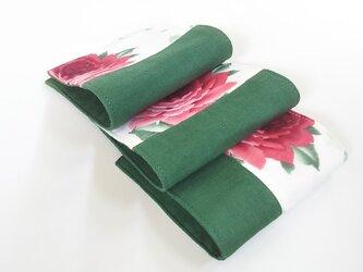 ガーゼのハーフハンカチ 薔薇 レトロ  赤×緑  3枚組の画像
