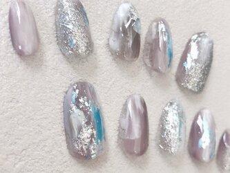 アンティーク 月 シルバー ニュアンス くすみブルー 水色 ウェディング ネイルチップ つけ爪 ハンドメイド 手作りの画像