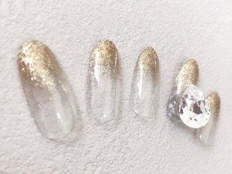 ゴールド ラメ スワロフスキー 石 派手 キラキラ 宝石 グラデーション 金 ネイルチップ つけ爪 ハンドメイド 手作りの画像