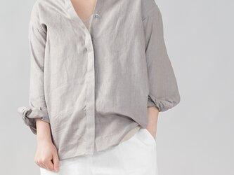 【wafu】中厚 比翼リネンシャツ 長袖 ちび襟 リネンシャツ ドロップショルダー ミニ襟/アッシュパール t018c-asp2の画像