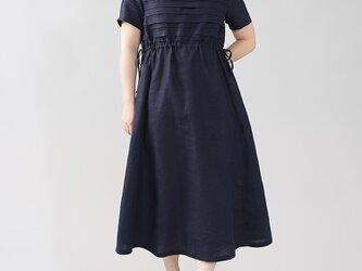 【wafu】中厚 リネンボーダー リネンワンピース ブラウジング ドレス ミモレ丈 丸首/ネイビー a081s-neb2の画像