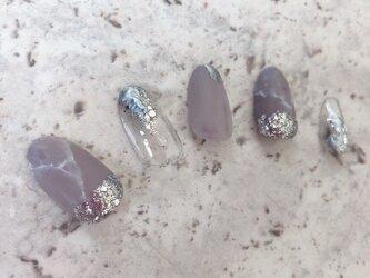 グレー くすみ 大理石 ニュアンス シルバー ウェディング マット メタル ネイルチップ つけ爪 ハンドメイド 手作りの画像