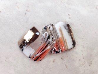 ブラウン オレンジ ぬりかけ モード シック 大人 ネイルチップ つけ爪 ペディキュア フット ハンドメイド デートの画像