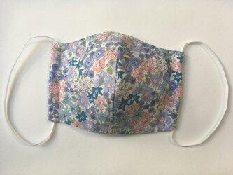 大人用立体マスク 小花柄 ブルーの画像