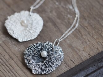 Pearl 珊瑚 ロング ネックレス シルバー925の画像