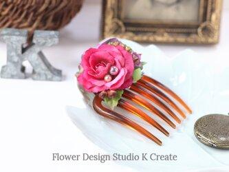 ローズピンクとラベンダー色の薔薇のコーム アーティフシャルフラワー パール バラ 髪飾り 浴衣 ダンス 髪飾り 浴衣 ダンスの画像