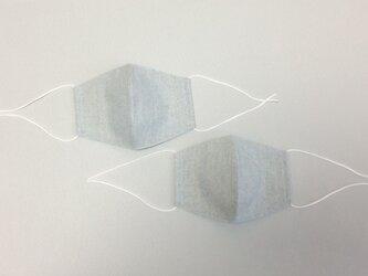 2枚セット 綿麻スペック先染とダブルガーゼのマ大人用 水色系の画像