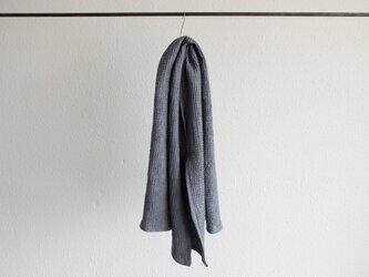 リネンワッフル 小さなバスタオル ブルーグレーの画像