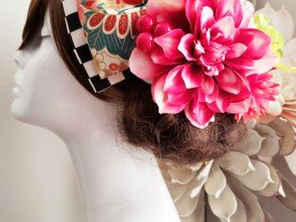 グラデーションダリアと和柄リボンの髪飾り8点Set No747 成人式 結婚式の画像